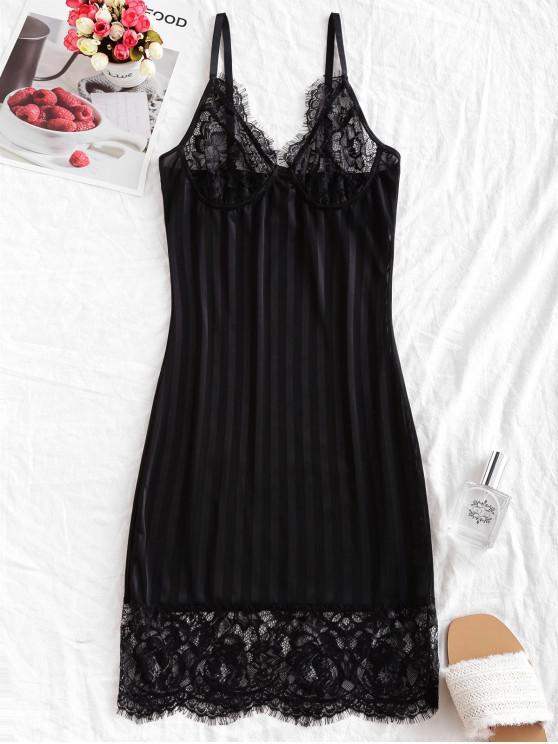 Pannello in pizzo Ombra Stripes Sleepwear Vestito aderente - Nero S