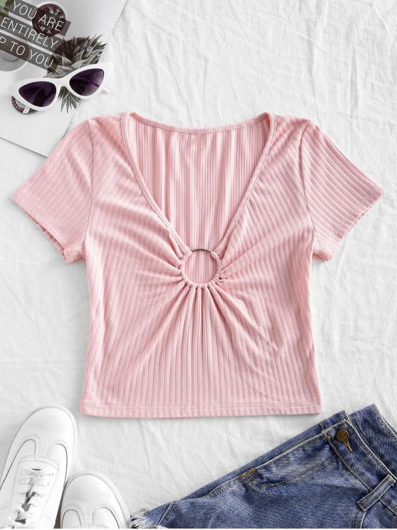 new ZAFUL Solid O Ring Ribbed Cropped Tee - PINK S