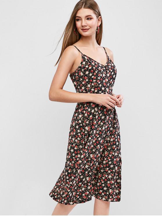 hot ZAFUL Tiny Floral Slit Flared Cami Dress - BLACK XL