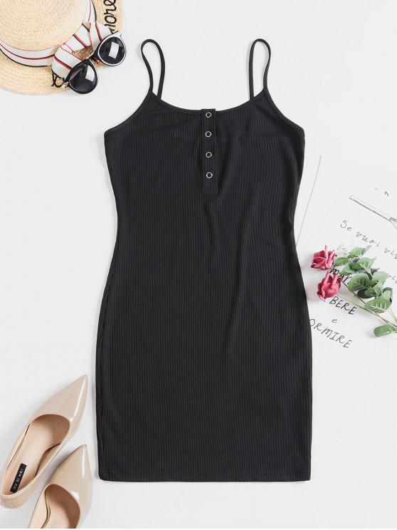unique ZAFUL Solid Color Bodycon Cami Dress - BLACK S
