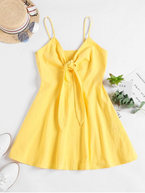 affordable ZAFUL Tie Front A Line Cami Dress - SUN YELLOW L