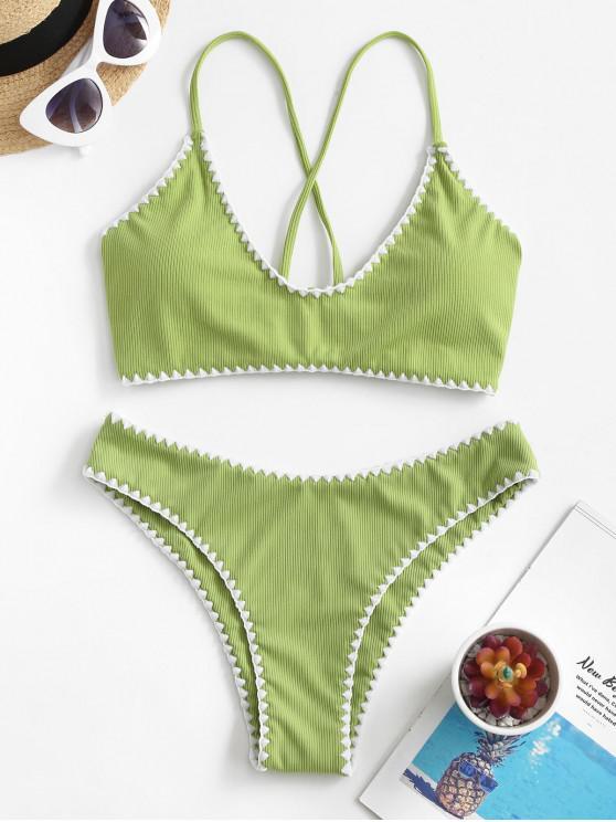 women ZAFUL Ribbed Whip Stitch Criss Cross Bikini Swimsuit - PISTACHIO GREEN M
