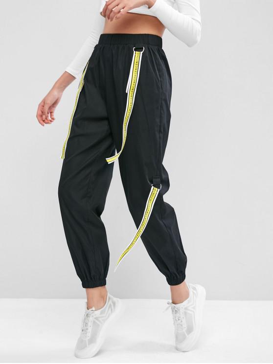 ZAFUL Jogger Pantalones con Cinta y Bolsillo - Negro S