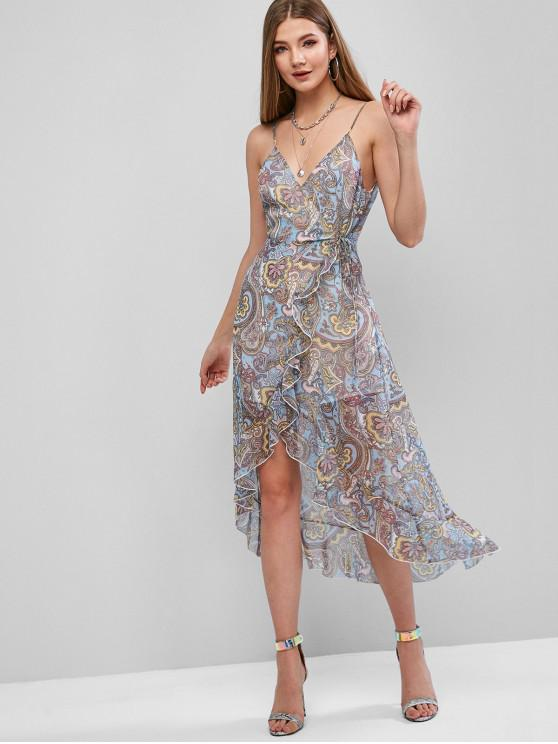 lady ZAFUL Asymmetrical Cami Surplice Print Ruffled Dress - LIGHT BLUE XL