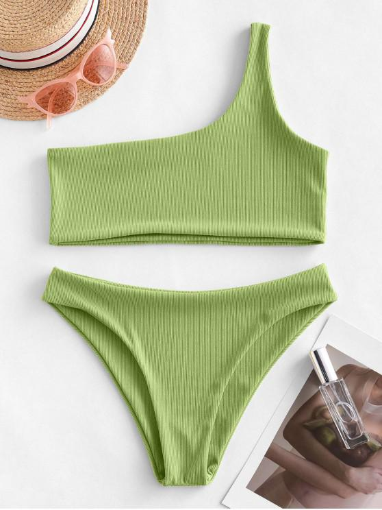 outfit ZAFUL One Shoulder Ribbed Bikini Swimsuit - GREEN ONION L