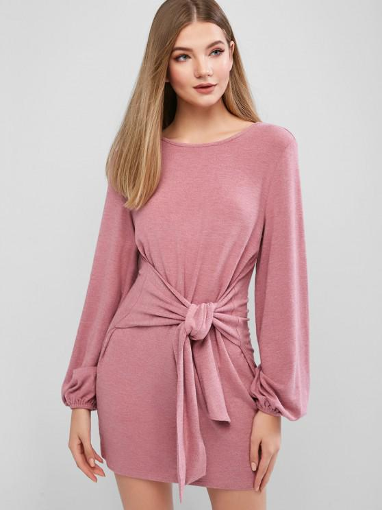 outfit ZAFUL Long Sleeve Casual Tie Waist Mini Dress - LIPSTICK PINK S