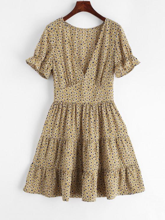 online ZAFUL Tiny Floral V Neck Flare Dress - YELLOW M