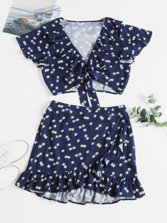 lady ZAFUL Daisy Print Knotted Ruffles Two Piece Suit - LAPIS BLUE S