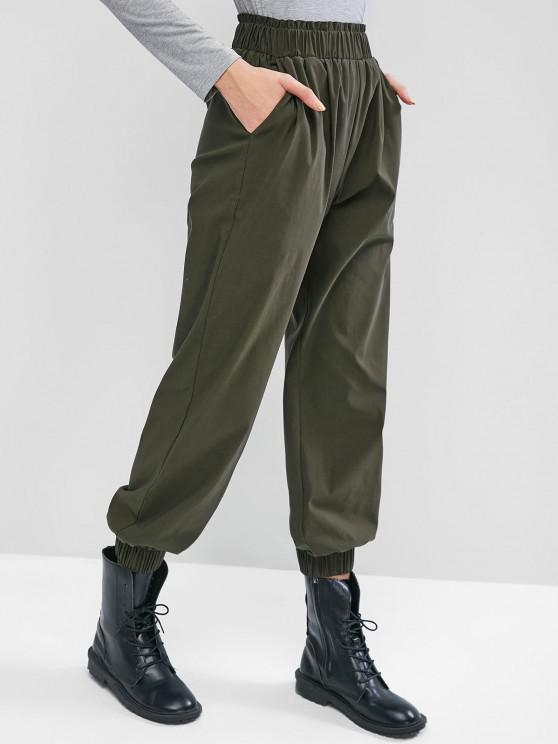 ladies ZAFUL Ruffle High Waisted Pocket Jogger Pants - MEDIUM SEA GREEN L