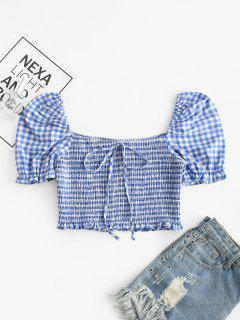 ZAFUL Knotted Smocked Gingham Crop Blouse - Slate Blue L