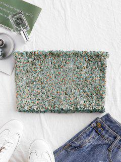 ZAFUL Smocked Ditsy Floral Bandeau Top - Cyan Opaque Xl