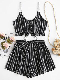 ZAFUL Striped Lace Up Ruffle Belted Loose Shorts Set - Black S