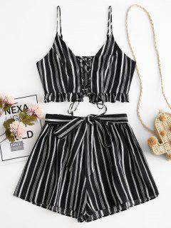 ZAFUL Striped Lace Up Ruffle Belted Loose Shorts Set - Black L