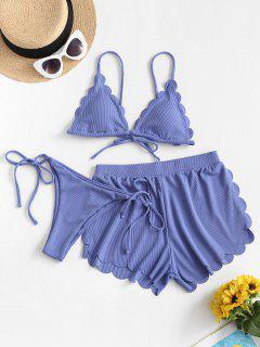 ZAFUL Ribbed Scalloped Three Pieces String Bikini Swimwear - Cornflower Blue M