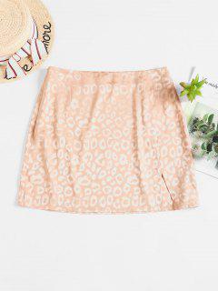 ZAFUL Leopard Slit Mini Skirt - Camel Brown Xl