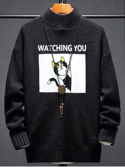 卡通貓字母印花套頭衫毛衣 - 黑色 L Mobile