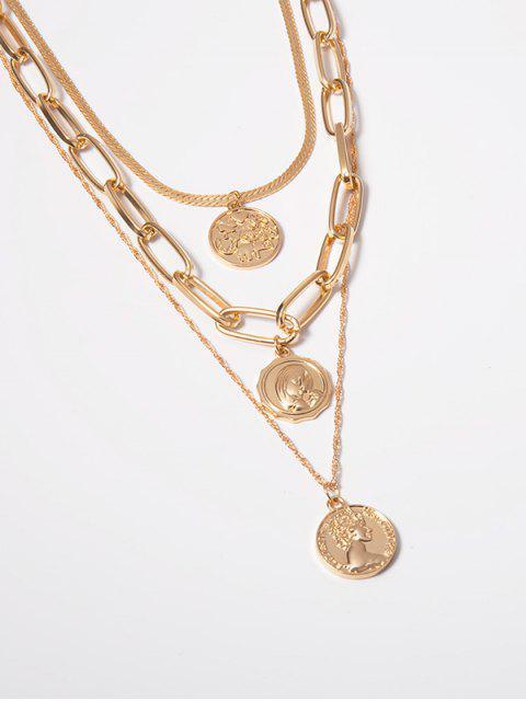 Mehrschichtig Portrait-Ketten-Halskette - Gold  Mobile