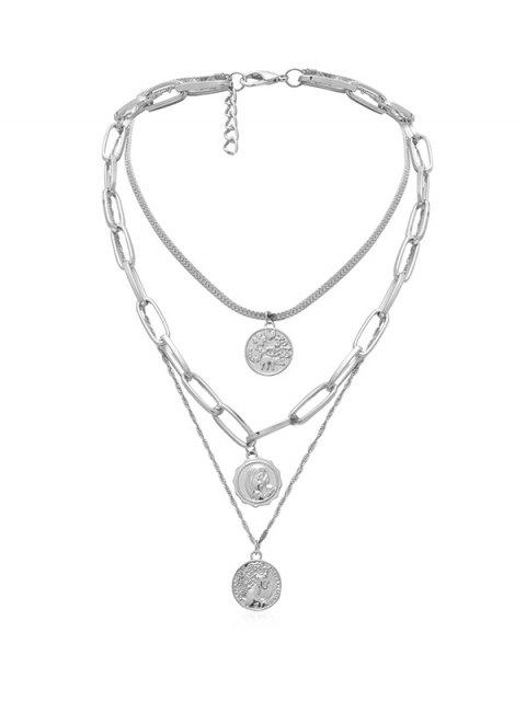 lady Multi Layered Portrait Chain Necklace - SILVER  Mobile