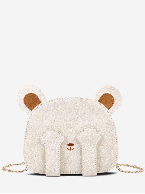 熊臉鏈條單肩包 - 牛奶白色  Mobile