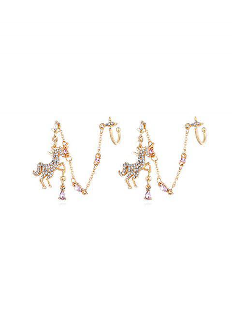 水鑽獨角獸形袖扣耳環 - 金  Mobile