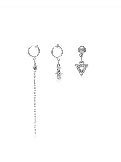 Diamantes de imitación largo del oído del pendiente de la cadena del clip - Plata  Mobile