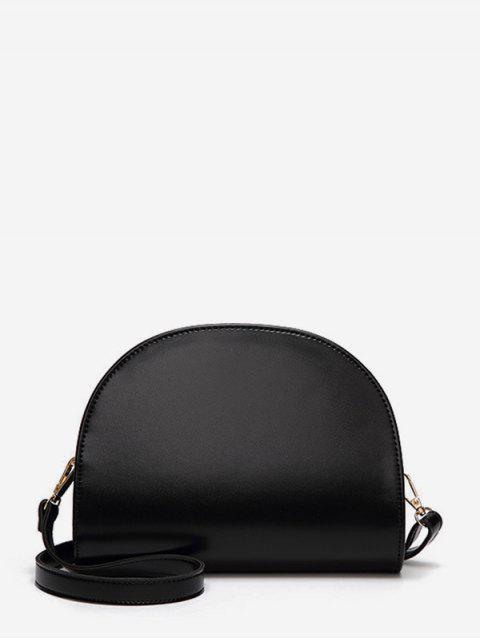 半圓光面真皮單肩包 - 黑色  Mobile