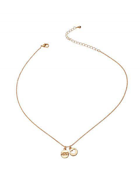 Herz Buchstabe Doppel Runde Hängende Halskette - Gold  Mobile