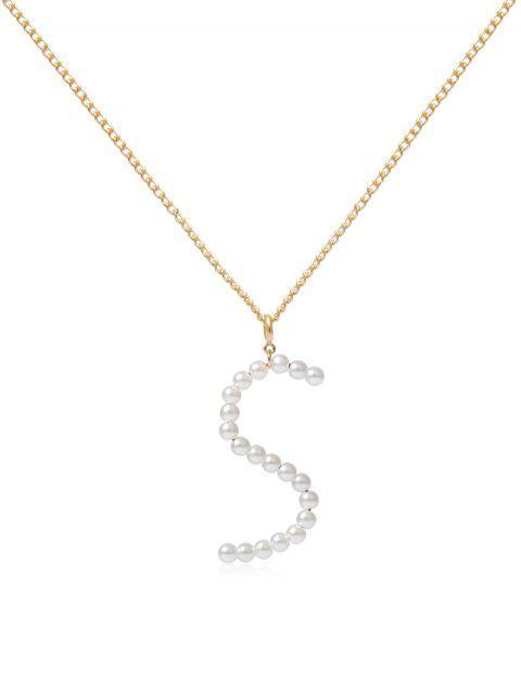 Искусственный жемчу Буквы С подвеской Ожерелье - Золотой S Mobile