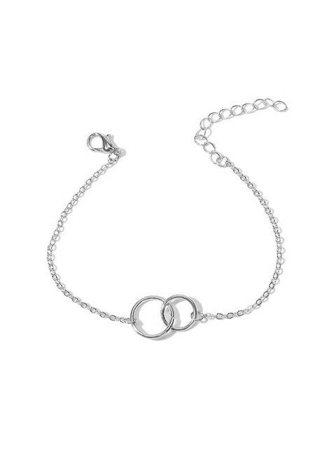 Buchstabe Doppel Kreis  Kettenarmband - Silber  Mobile