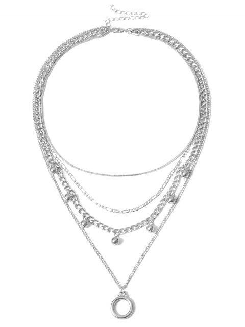 CollierCerclePendant Perle Superposé - Argent  Mobile
