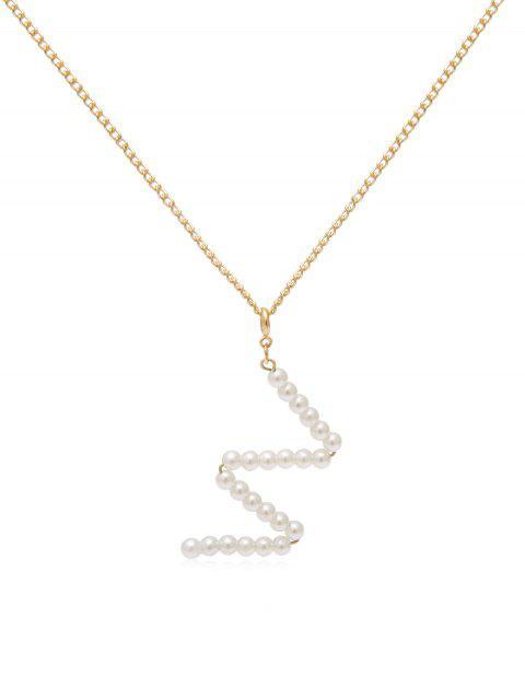 Collier Lettre Pendant avec Fausse Perle - Or W Mobile