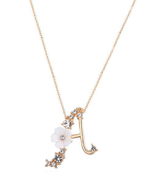 Горный хрусталь Буква Цветок С подвеской Ожерелье - Золотой  Mobile