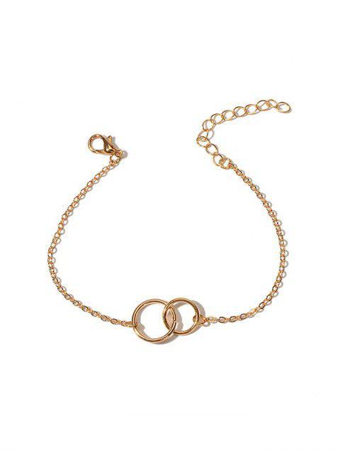 Buchstabe Doppel Kreis  Kettenarmband - Gold  Mobile