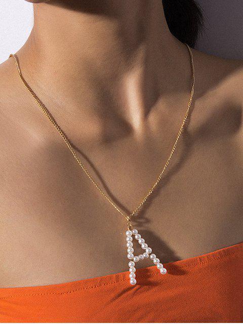 Collier Lettre Pendant avec Fausse Perle - Or A Mobile
