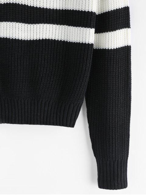 ZAFUL Streifen V-Ausschnitt Pullover - Schwarz M Mobile