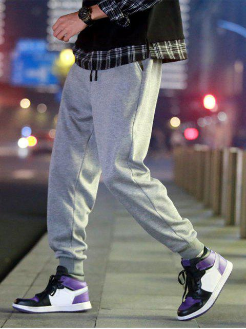 shop Solid Color Fuzzy Jogger Pants - GRAY CLOUD 2XL Mobile