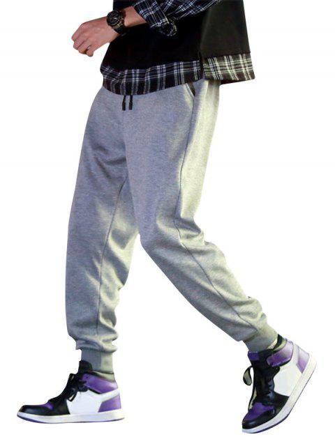 sale Solid Color Fuzzy Jogger Pants - GRAY CLOUD XS Mobile