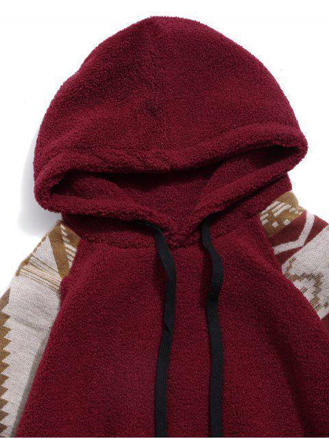 部落圖形打印插肩袖泰迪連帽衫 - 栗子紅 M Mobile