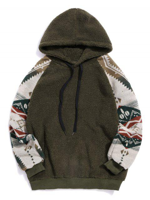 部落圖形打印插肩袖泰迪連帽衫 - 軍綠色 XL Mobile