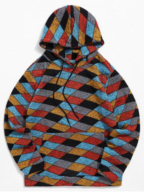 休閒幾何圖案袋鼠口袋連帽衫 - 多-A L Mobile