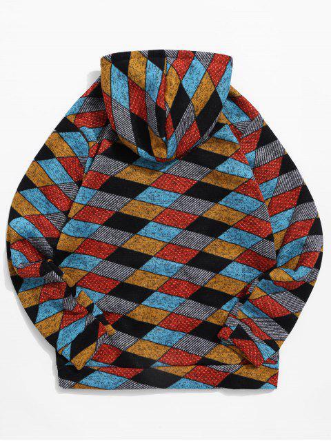 休閒幾何圖案袋鼠口袋連帽衫 - 多-A XL Mobile