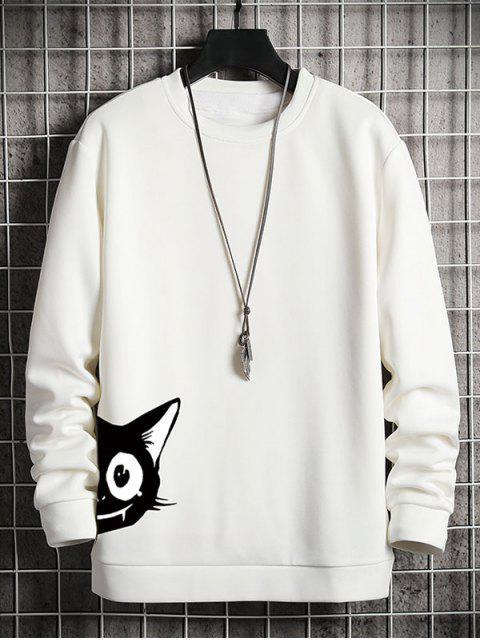 卡通貓打印休閒運動衫 - 白色 XL Mobile