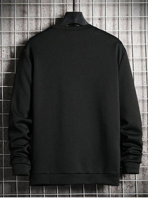 卡通貓打印休閒運動衫 - 黑色 XL Mobile