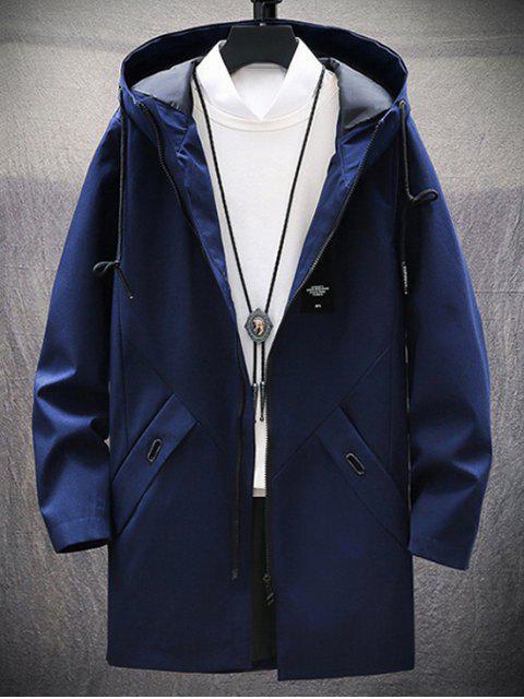 固體貼花龍抽繩連帽夾克 - 藏青 M Mobile