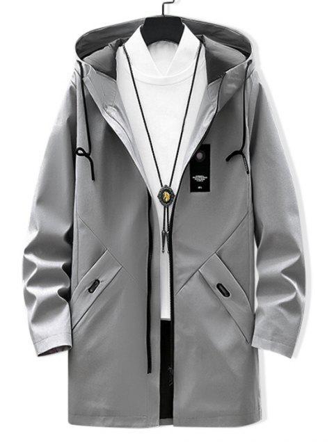 固體貼花龍抽繩連帽夾克 - 淺灰 XS Mobile