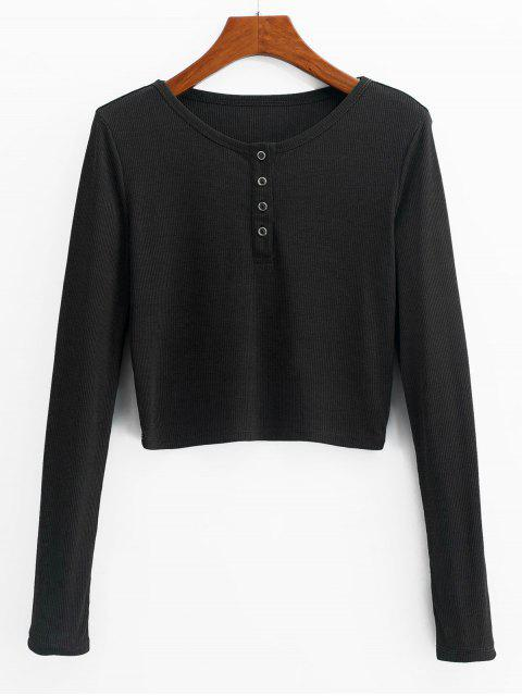 chic ZAFUL Henley Cropped Knit Tee - BLACK M Mobile