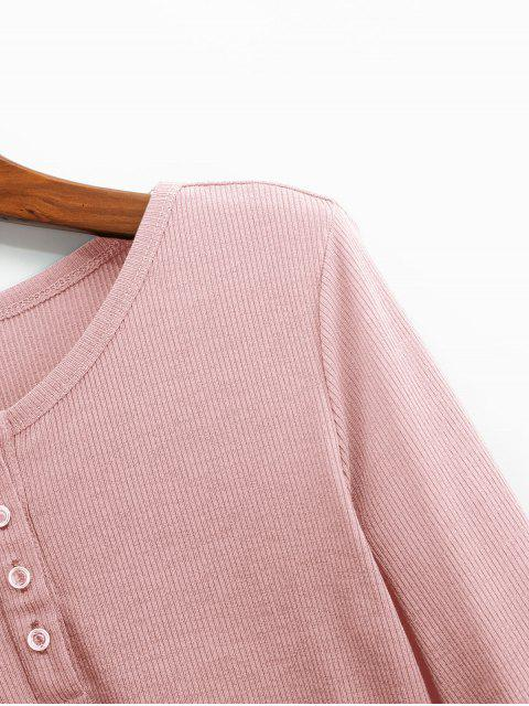 sale ZAFUL Henley Cropped Knit Tee - PINK XL Mobile