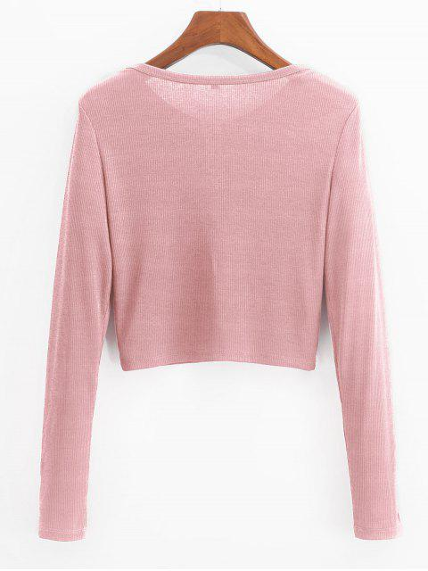 womens ZAFUL Henley Cropped Knit Tee - PINK S Mobile