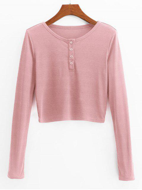 women ZAFUL Henley Cropped Knit Tee - PINK L Mobile