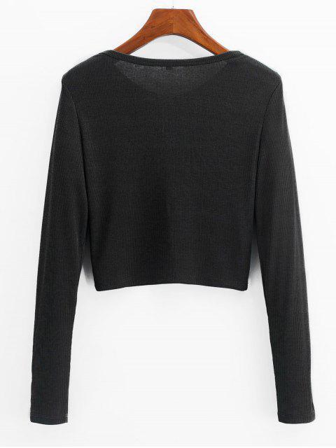 best ZAFUL Henley Cropped Knit Tee - BLACK XL Mobile